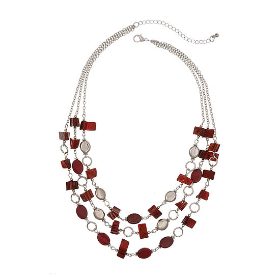 Mixit Red Womens Beaded Necklace