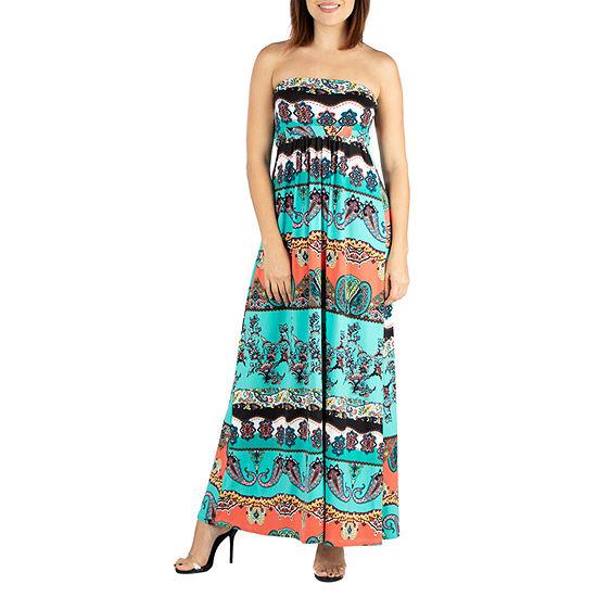 24/7 Comfort Dresses Strapless Empire Waist Maxi Dress