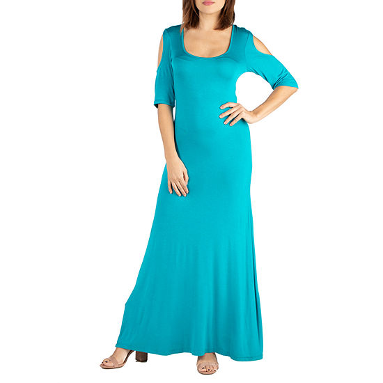 24/7 Comfort Dresses Elbow Sleeve Cold Shoulder Maxi Dress