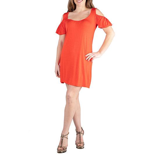 24/7 Comfort Dresses Loose Cold Shoulder Mini Dress