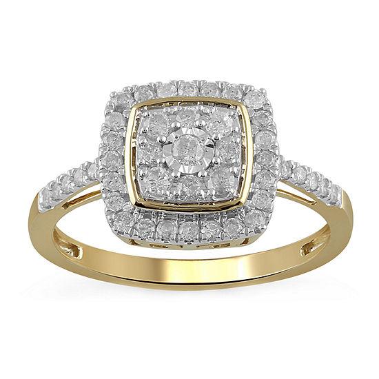 Womens 1/2 CT. T.W. Genuine Diamond 10K Gold Cocktail Ring
