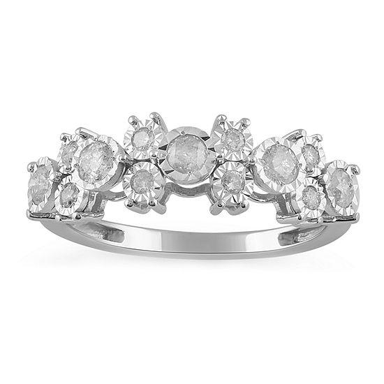 Womens 1/2 CT. T.W. Genuine Diamond 10K White Gold Cocktail Ring