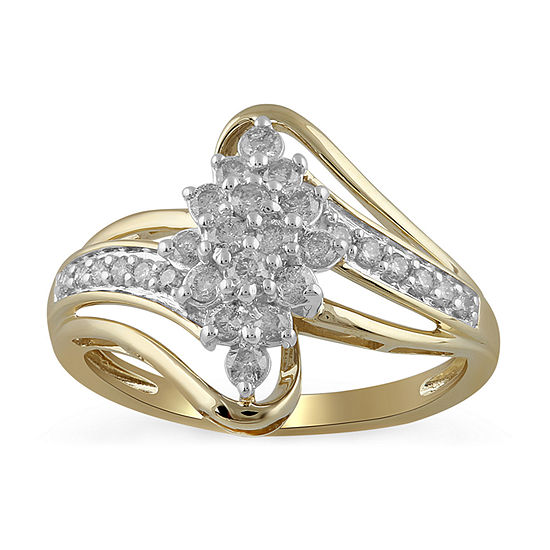 Womens 1/2 CT. T.W. Genuine Diamond 10K Gold Cocktail Ring