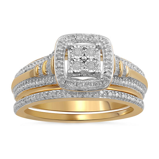 Surrounded by Love Womens 1/5 CT. T.W. Genuine White Diamond 14K Gold Over Silver Sterling Silver Engagement Ring