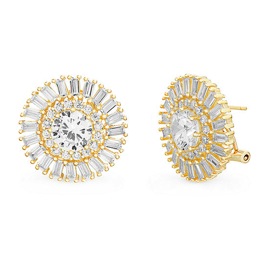 Inspired By You Plus_Size White Cubic Zirconia 14K Gold Over Silver 20.8mm Stud Earrings