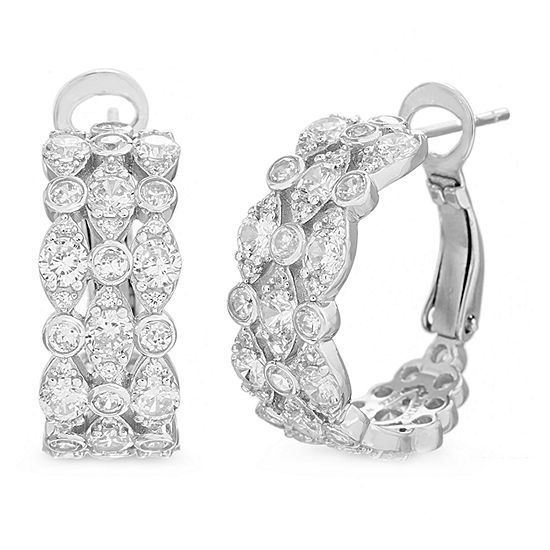 Inspired By You Plus_Size White Cubic Zirconia Sterling Silver 20.8mm Hoop Earrings