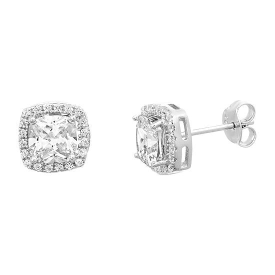 Inspired By You White Cubic Zirconia Sterling Silver 9.6mm Stud Earrings