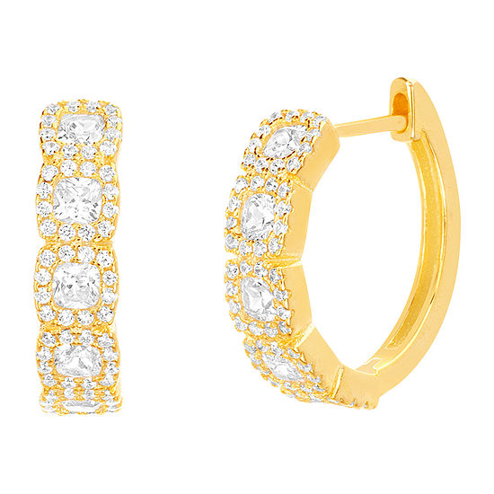 Inspired By You Plus_Size White Cubic Zirconia 14K Gold Over Silver Earring Set