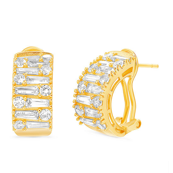 Inspired By You White Cubic Zirconia 14K Gold Over Silver 18mm Hoop Earrings