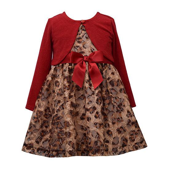 Bonnie Jean Girls Long Sleeve Dress Set - Toddler
