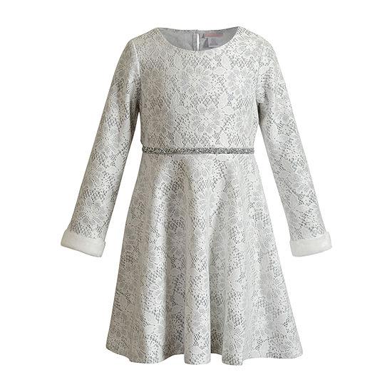 Emily West Little Girls Long Sleeve Party Dress
