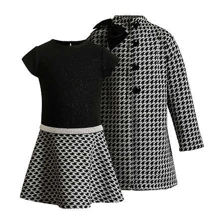 60s 70s Kids Costumes & Clothing Girls & Boys Emily West Little Girls 2-pc. Coat Jacket Dress 6  Black $28.49 AT vintagedancer.com