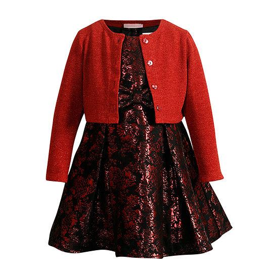 Youngland Little & Big Girls Sleeveless Cardigan Dress Set