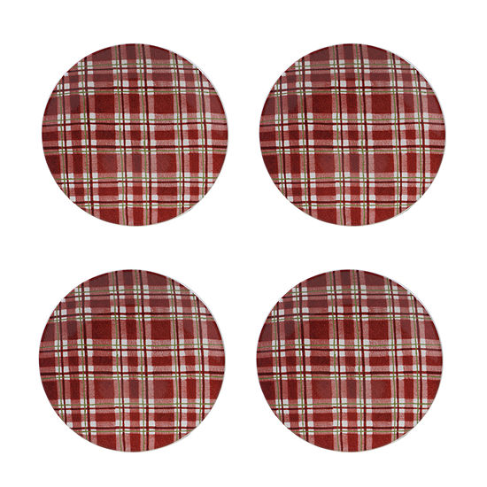 Certified International Holiday Traditions Plaid 4-pc. Salad Plate