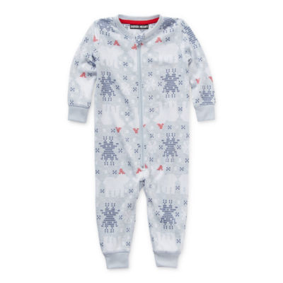 North Pole Trading Co. Polar Bear Baby Unisex Knit Long Sleeve One Piece Pajama