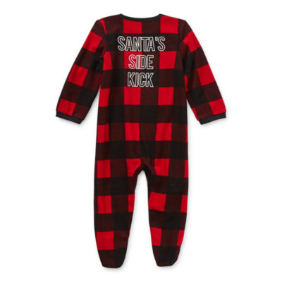 North Pole Trading Co. Buffalo Plaid Baby Unisex Knit Long Sleeve One Piece Pajama