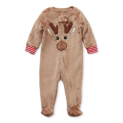 North Pole Trading Co. Reindeer Baby Unisex Knit Long Sleeve One Piece Pajama