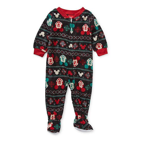 Disney Collection Baby Unisex Microfleece Mickey Mouse Long Sleeve One Piece Pajama