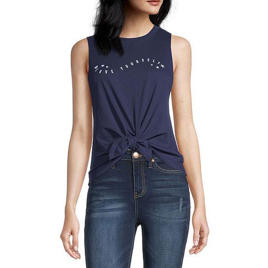 Miken-Juniors Womens Crew Neck Sleeveless Graphic T-Shirt