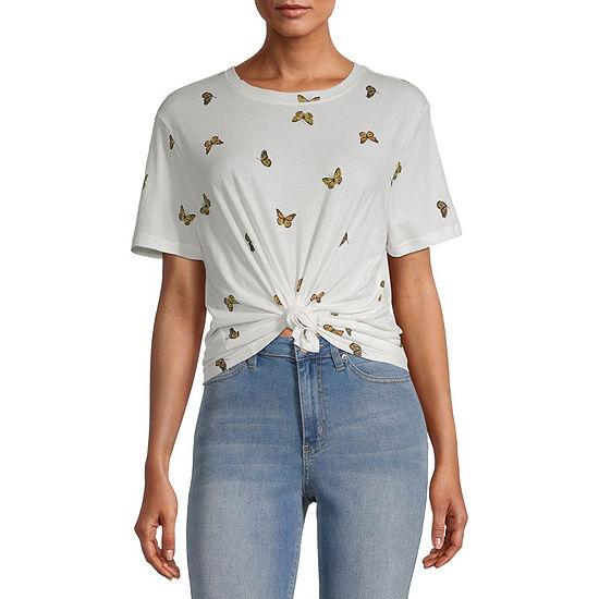 Miken-Juniors Womens Round Neck Short Sleeve Graphic T-Shirt