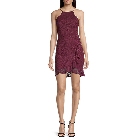 City Triangle-Juniors Sleeveless Lace Bodycon Dress