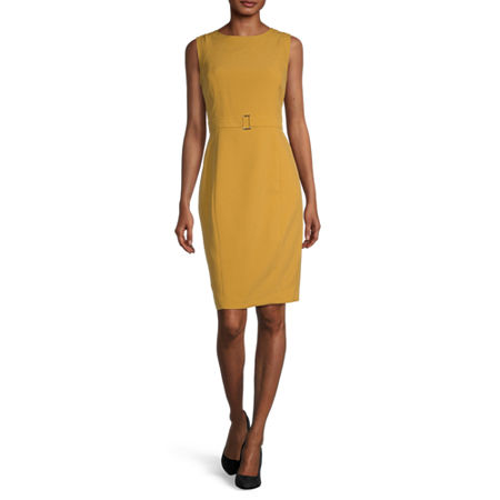 Vintage Style Dresses | Vintage Inspired Dresses Black Label by Evan-Picone Sleeveless Sheath Dress 18  Yellow $31.99 AT vintagedancer.com