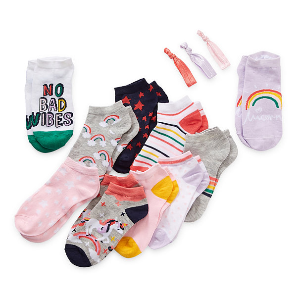 Arizona Little & Big Girls 10 Pair Low Cut Socks