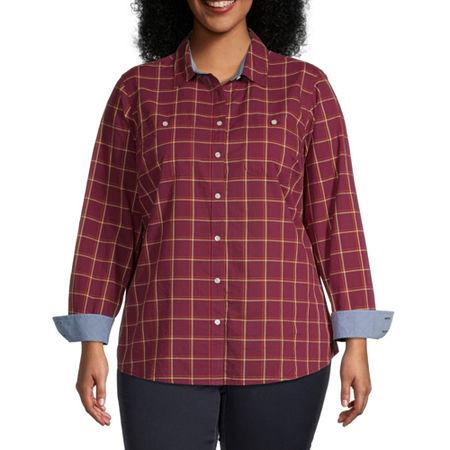 St. John's Bay-Plus Womens Long Sleeve Regular Fit Button-Down Shirt, 0x , Red