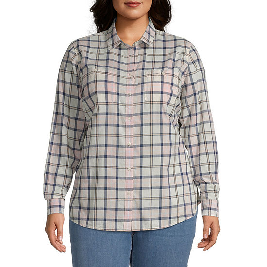 St. John's Bay-Plus Womens Long Sleeve Regular Fit Button-Down Shirt