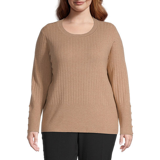 Liz Claiborne Button Sleeve Ribbed Sweater - Plus