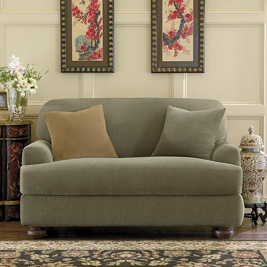 SURE FIT® Stretch Piqué 2-pc. T-Cushion Chair Slipcover