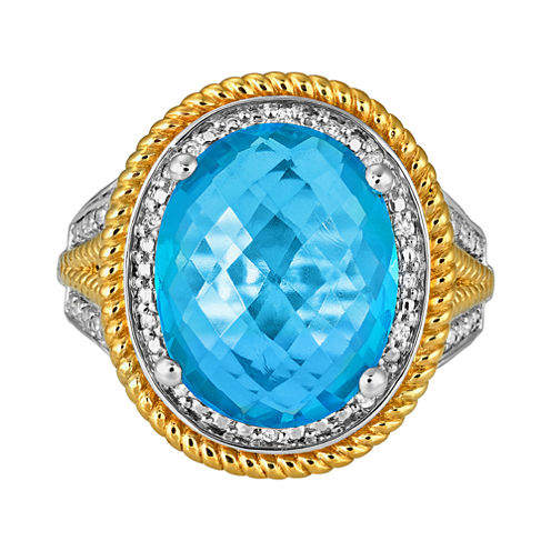 LIMITED QUANTITIES Lab-Created Blue Topaz & Diamond-Accent Ring