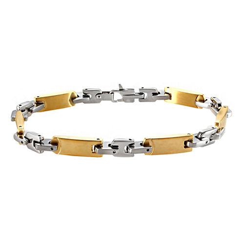 Mens Two-Tone Stainless Steel Link Bracelet