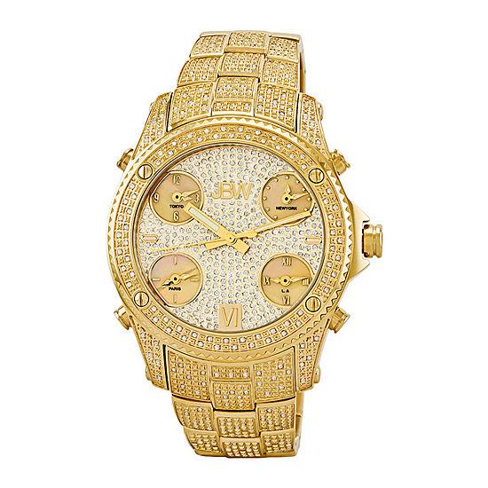 JBW Jet Setter Mens 3 CT. T.W. Diamond Gold-Tone Stainless Steel Watch JB-6213-A
