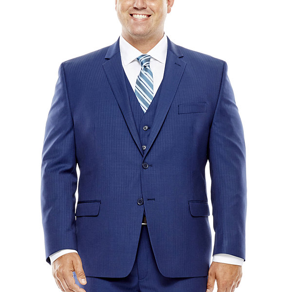 Collection by Michael Strahan Blue Herringbone Suit Jacket - Big & Tall