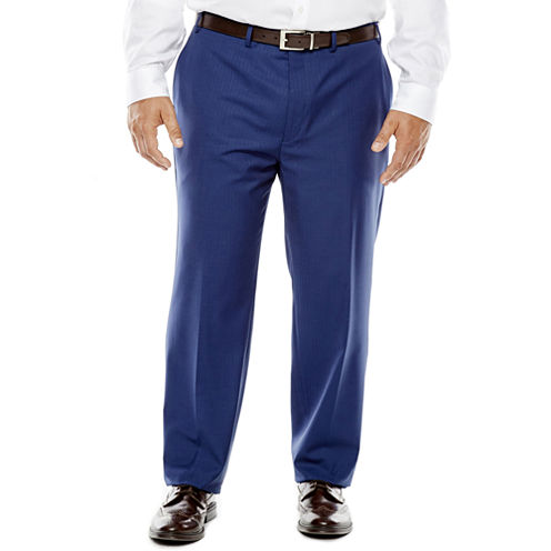Collection by Michael Strahan Blue Herringbone Suit Pants - Big & Tall