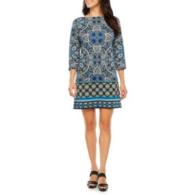 London Style 3/4 Sleeve Paisley Sheath Dress