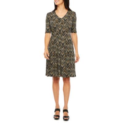 Ronni Nicole Elbow Sleeve Chevron Fit & Flare Dress