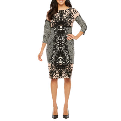 Rabbit Design Elbow Sleeve Damask Sheath Dress