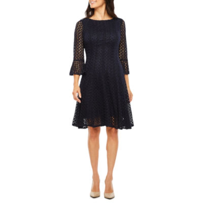 Rabbit Design Elbow Sleeve Lace Fit & Flare Dress