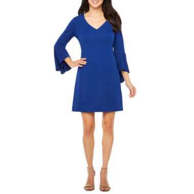 R & K Originals 3/4 Bell Sleeve Shift Dress