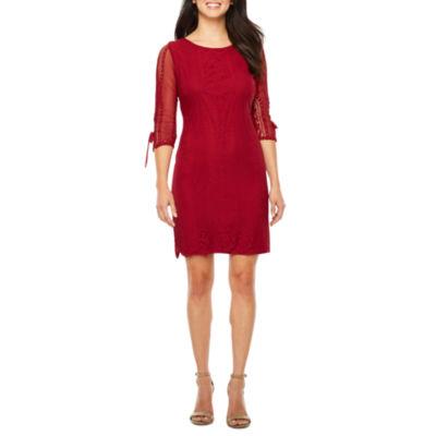 R & K Originals 3/4 Sleeve Lace Shift Dress
