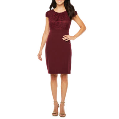Chelsea Rose Short Sleeve Lace Sheath Dress