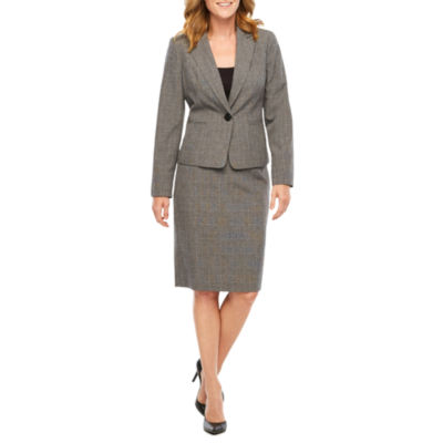 Le Suit Plaid Skirt Suit