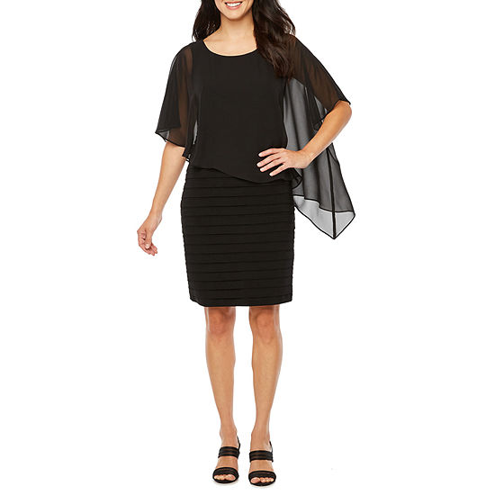 Scarlett Sleeveless Cape Sheath Dress