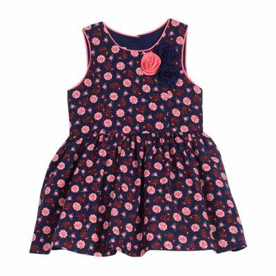 Marmellata Sleeveless Navy Floral Dress - Baby Girls