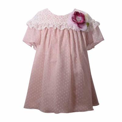 Bonnie Jean Short Sleeve Chiffon Beige Dress - Baby Girls