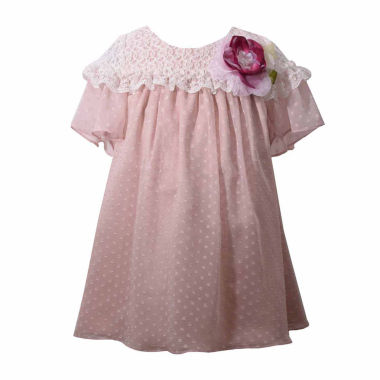 Bonnie Jean Short Sleeve Chiffon Beige Dress Baby Girls