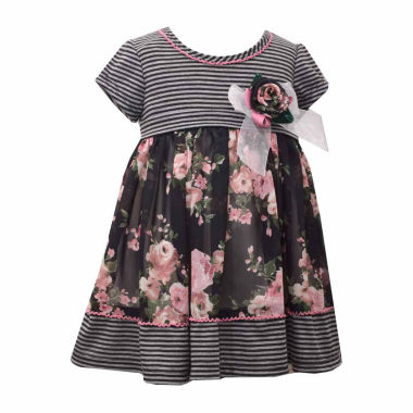 Bonnie Jean Short Sleeve Floral A Line Dress Baby Girls