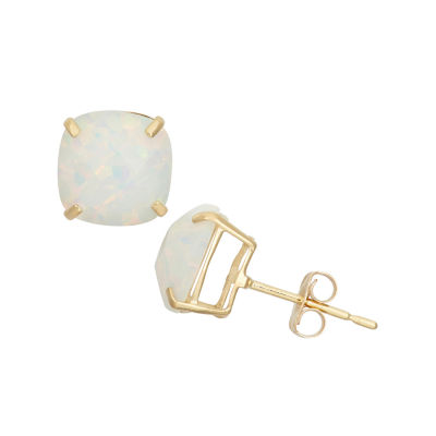 Cushion White Opal 14K Gold Stud Earrings